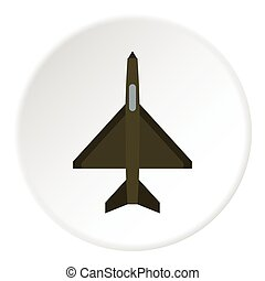 Fighter plane icon, flat style - Fighter plane icon Flat...