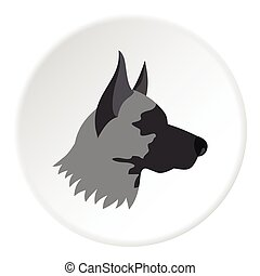 Shepherd dog icon, flat style - Shepherd dog icon. Flat...