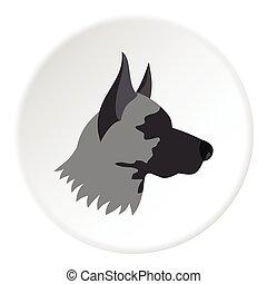 Shepherd dog icon, flat style - Shepherd dog icon. Flat...