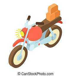 Motorcycle with cargo icon, isometric 3d style - icon...