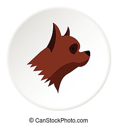 Pinscher dog icon, flat style - Pinscher dog icon. Flat...