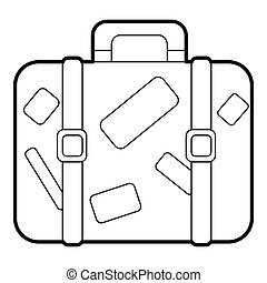 Travel suitcase with stickers icon, outline style - icon....