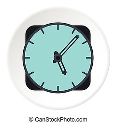 Wall mounted round clock icon, flat style - Wall mounted...