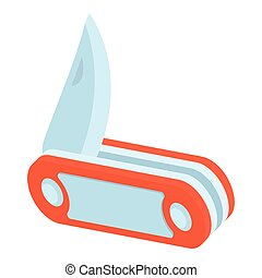 Red penknife icon, isometric 3d style - icon. Cartoon...