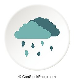 Clouds and hail icon, flat style - Clouds and hail icon Flat...