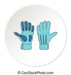 Goalkeeper gloves icon, cartoon style - Goalkeeper gloves...