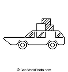 Hatchback with boxes icon, outline style - icon. Simple...