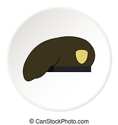 Military green beret icon, flat style