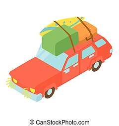 Red car with luggage and boxes icon - icon. Cartoon...