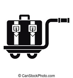 Baggage cart icon, simple style