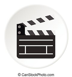 Movie clapper icon, flat style
