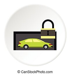 Car is under protection icon, flat style - Car is under...
