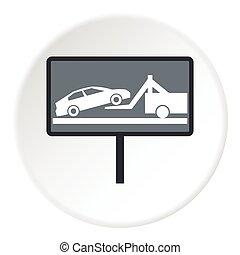 Sign evacuation cars to impound yard icon. Flat illustration...