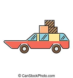 Red car with luggage and boxes icon, flat style - Red car...