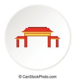 Pagoda icon, flat style - Pagoda icon Flat illustration of...