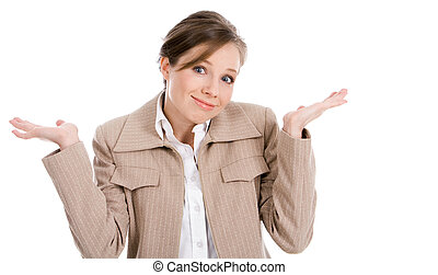 I dont know - Portrait of businesswoman shrugging and...