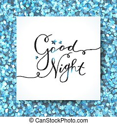 good night lettering, vector handwritten text with stars