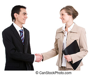 Greeting - Portrait of successful business partners...