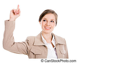 Eureka! - Image of smart businesswoman keeping her...