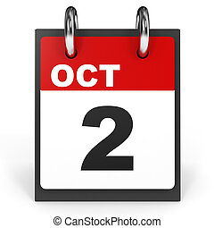October 2. Calendar on white background. 3D illustration.