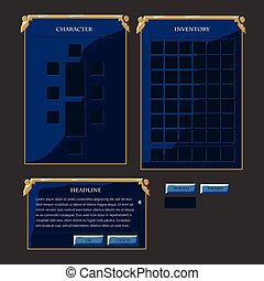 Set of fantasy vector interface elements. Buttons, popup...
