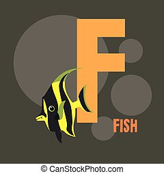 yellow fish on the background of the letter F. gray...