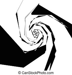 Spirally geometric image. Abstract monochrome art with...