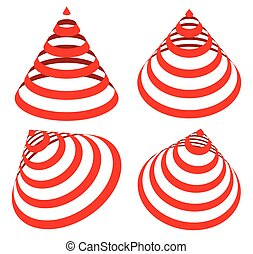 Geometric triangles with stripes, lines in 4 angle. Cone...