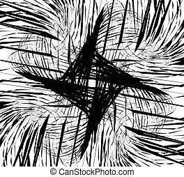 Random intersecting lines, geometric monochrome art. Random...