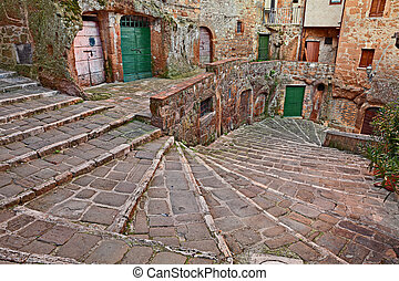 Pitigliano, Tuscany, Italy: ancient staircase in the old...