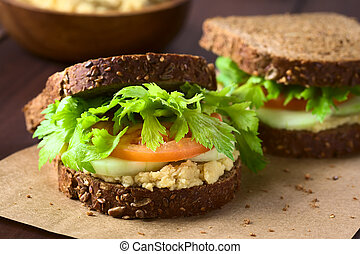 Vegan Wholegrain Sandwich - Vegan wholegrain sandwich with...