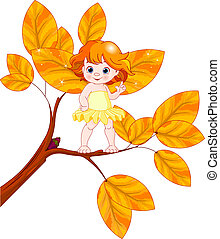 Autumn baby fairy - Illustration of a Autumn baby fairy