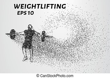 Weightlifting of particles. Athlete raises the bar in the...