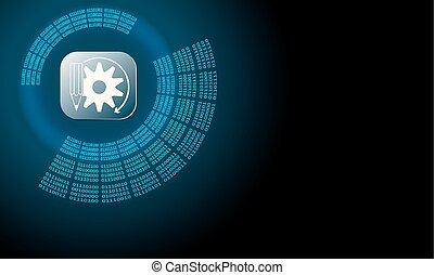 Vector abstract background with circular binary code