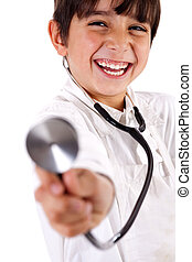 Little doctor showing his Stethoscope on white background