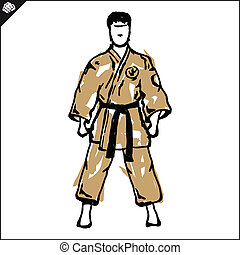 Karate fighter in japan kimono. Vector. EPS. - Martial arts....