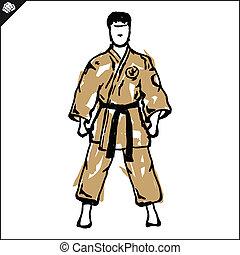 Karate fighter in japan kimono. Vector. EPS.