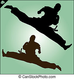 Martial art high kick. Vector. EPS. - Martial arts. Karate...