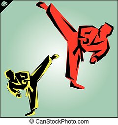 Karate fighters high power kick. Taekwondo - Martial arts....