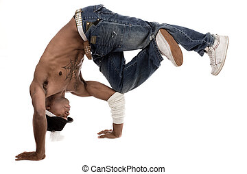 Dancer balancing his knees with his elbows