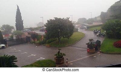Heavy Rain on the Street - Heavy Summer Rain on Street of a...