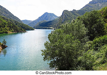 Escales lagoon, in the Catalan Pyrenees, Spain - the Escales...