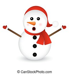 Surprised Snowman on a white background standing