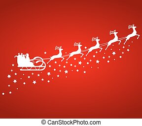 Santa Claus in sled rides in the reindeer - Santa Claus in...