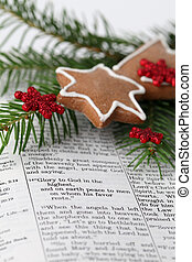 Christmas message - Open Bible on the text from Lucas 2:...