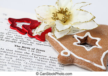 Christmas story - Open Bible with selective focus on text in...