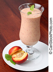 Nectarine milkshake - Fresh nectarine milk shake in a glass