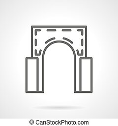 Semicircular arch simple line vector icon - Element of...