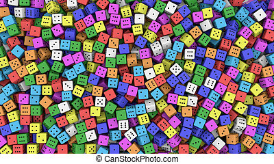 Colored dice - 3d rendering of random colored dice