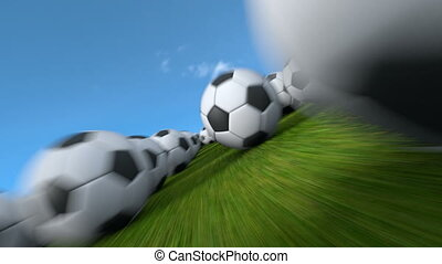Endless soccer balls flight - Fast flight through thousands...